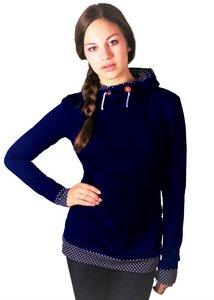 Bio Hoodie 'Marize' dunkelblau/ blau mit weißen Punkten - Frija Omina