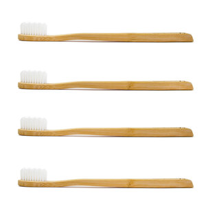 Bambus Zahnbürsten (4 Stück | Weiß | Medium) - Planet Bamboo