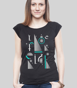 Bamboo Raglan Shirt Women Black 'Geometric' - SILBERFISCHER