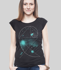 Bambus Shirt Women Black 'Birdy of the Universe' - SILBERFISCHER