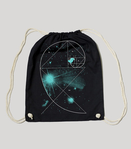Bio Gym Bag - Festival Turnbeutel Black 'Birdy Of The Universe' - SILBERFISCHER