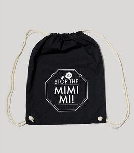 """Bio Gym Bag - Festival Turnbeutel Black """"MIMIMI"""" - SILBERFISCHER"""
