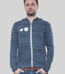 Light Zip Hoody Men Dark Heather Blue Birdy Hey - SILBERFISCHER