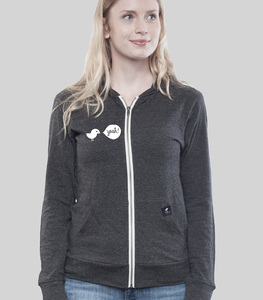 Light Zip Hoody Women Slub Dark Heather Grey Birdy Hey - SILBERFISCHER