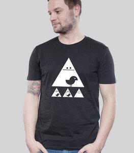 """Shirt Men Black """"Achtung Birdy!"""" white - SILBERFISCHER"""