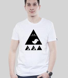 """Shirt Men White """"Achtung Birdy!"""" Black - SILBERFISCHER"""