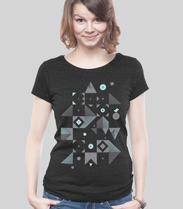 "Lowcut Shirt Women Dark Heather Black ""Blocks"" - SILBERFISCHER"