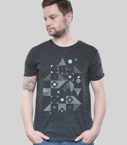 Shirt Men Dark Heather Grey 'Blocks' - SILBERFISCHER
