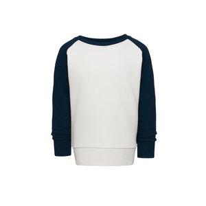 Kinder Raglan Sweatshirt Weiß/Dunkelblau Bio & Fair - ThokkThokk