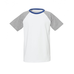 Kinder Raglan T-Shirt Weiß/Grau/Blau Bio & Fair - ThokkThokk ST