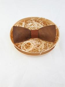 Fliege aus rustikalem braunen Leder mit braunem Steg!   - Süßstoff