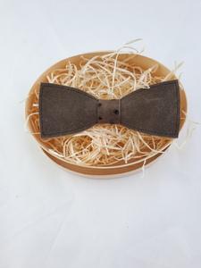 Fliege aus Leder braun mit außergewöhnlichem braunen Steg!   - Süßstoff