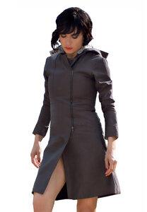Mantel mit abnehmbarer Kapuze - aus Bio Baumwolle - Braun - LASALINA
