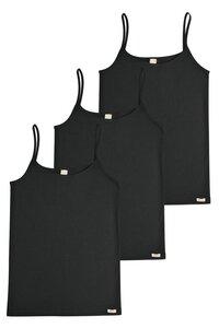 3er Pack Fairtrade Unterhemd Spaghettiträger, schwarz - comazo|earth