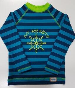 Raglanshirt Sweat Stripes blau-petrol  'Aye Captain' - Omilich