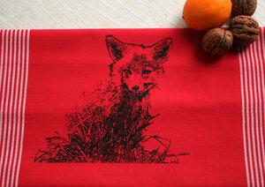 Fair-Trade-Geschirrtuch 'Junger Fuchs' rot - Hirschkind