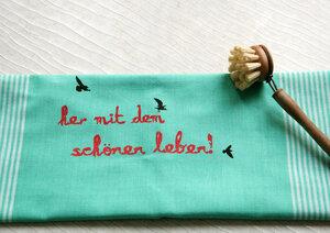 """Handgewebtes Fair-Trade-Geschirrtuch """"her mit dem schönen leben!"""" türkis - Hirschkind"""
