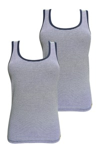 Doppelpack Fairtrade Unterhemd Achselträger, marine geringelt - comazo|earth
