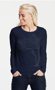 "Bio-Damen-Langarmshirt ""Fancy Tree"" - Peaces.bio - Neutral® - handbedruckt"
