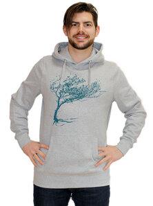 """Bio-Herren-Hoodie """"Windy Tree"""" Melange - Peaces.bio - EarthPositive® - handbedruckt"""