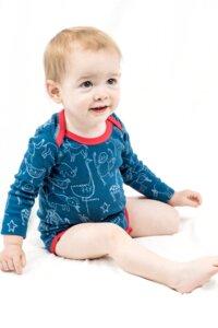 Kipepeo Baby- Body 'Karibu Duniani' Petrol/Rot  langarm - Kipepeo-Clothing