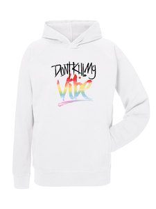 """Leichter Unisex Sommer Hoodie in weiß - Chase """"Don`t kill my Vibe""""  - Human Family"""