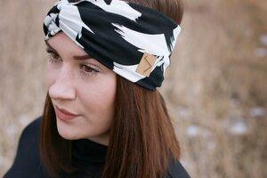 Stirnband im Turbanlook - Black Brushmarks Jersey - dreisechzig