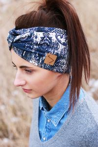 Stirnband im Turbanlook - Blue Paisley Jersey - dreisechzig