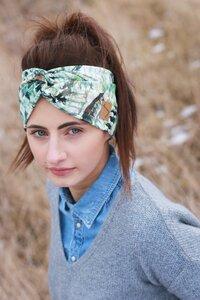 Stirnband im Turbanlook - Green Feathers Jersey - dreisechzig