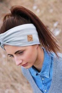 Stirnband im Turbanlook - Light Grey Jersey - dreisechzig