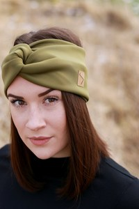 Stirnband im Turbanlook - Olive Double Jersey - dreisechzig