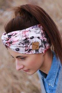 Stirnband im Turbanlook - Rose Flowers Jersey - dreisechzig