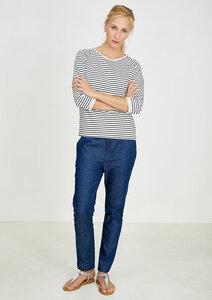 Sweatshirt 3/4 Sleeve weiß blau gestreift - recolution