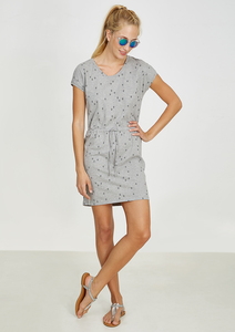 Kleid Shirtdress V-Neck #HEARTARROW grau - recolution