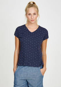 T-Shirt V-Neck #CROSS navy blau - recolution