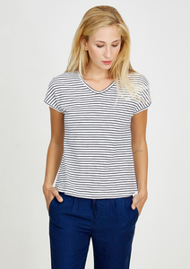 T-Shirt V-Neck weiß navy blau gestreift - recolution