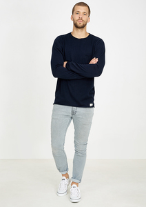 Strick Longsleeve #POCKET navy blau - recolution
