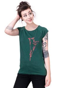 """Bio-& Fair-Trade-Frauenshirt """"Wiesenkerbel"""" grün - Hirschkind"""