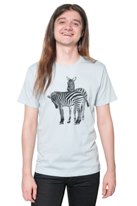 "Bio- & Fair-Trade-Männershirt ""Zebras"" hellgrau - Hirschkind"