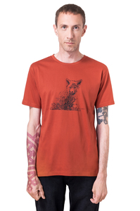 """Bio- & Fair-Trade-Männershirt """"Fuchs"""" rostrot - Hirschkind"""