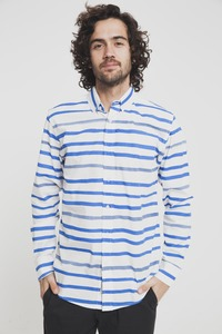 Hemd - Aquarela Stripes Shirt - Snow White - thinking mu