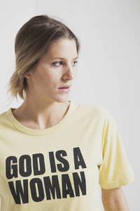 God Is A Woman T-Shirt - Yellow Raffia - thinking mu