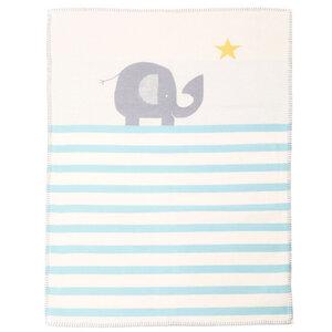 Babydecke 75 x 100, Elefant blau - David Fussenegger