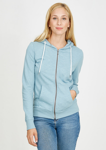 Basic Zipper #SLUB grau blau  - recolution