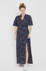 Abstract Lines Barcelona Dress - Blue Total Eclipse - thinking mu