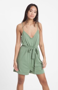 Jumpsuit - Beach Bib - Hedge Green - thinking mu