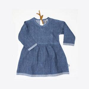 Leinenkleid blau - Pünktchen Komma Strich