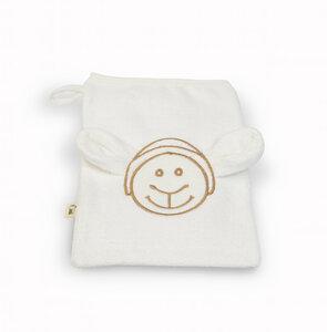 Bio - Waschhandschuh weiß mit Schaf-Design nachhaltig GRÜNSPECHT - GRÜNSPECHT Naturprodukte