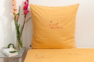 Bio-Kissenbezug 'her mit dem schönen leben!' gelb 80*80 cm - Hirschkind