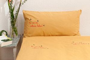 Bio-Kissenbezug 'her mit dem schönen leben!' gelb 80*40 cm - Hirschkind
